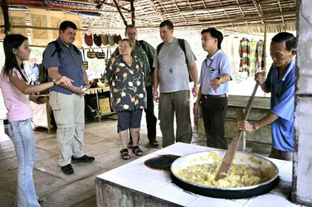 Showing the guide of making coconut candy