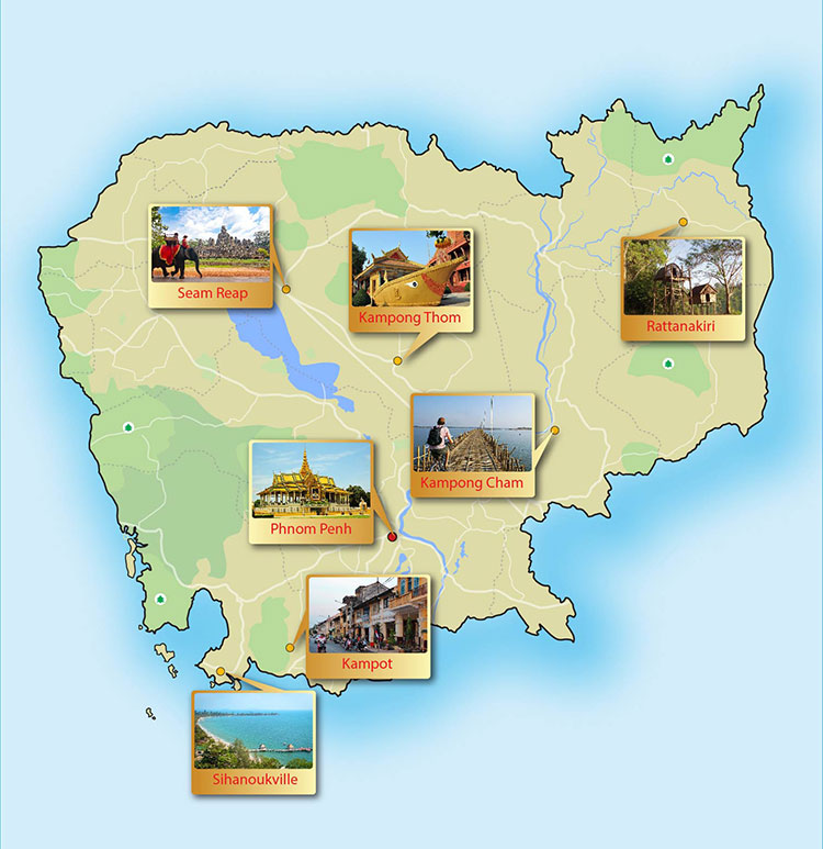 Cambodia day tour map