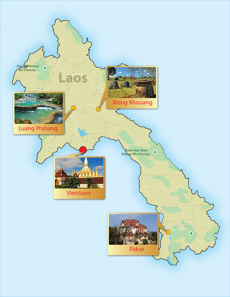 Laos day tour map
