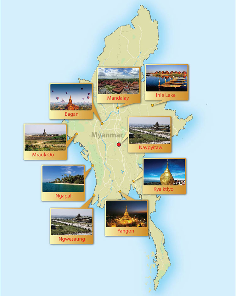 Myanmar Day Tour Map