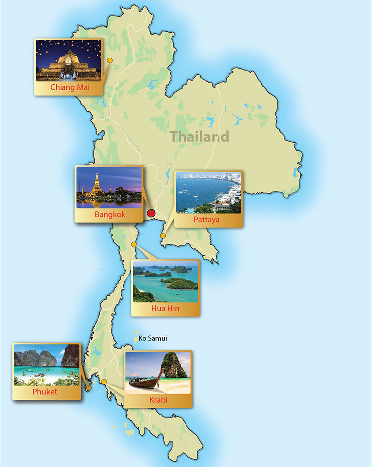 Thailand Day Tour Map